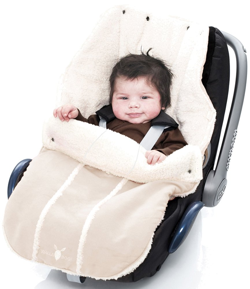 Wallaboo Baby Universal Bunting Bag, for Car Seat Stroller Pushchair, Footmuff Sack,  Luxurious suéde and soft faux sheerling, Newborn upto 12 months, 84x50cm, Size: 33 x 20 inch, Color: Ecru