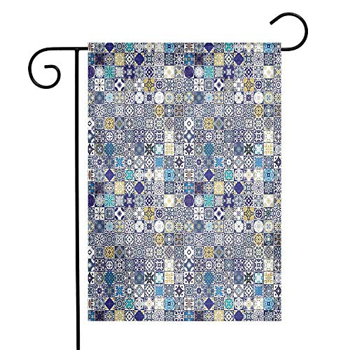 - Mannwarehouse Moroccan Garden Flag Mediterranean Square Tile Motifs Pattern Vintage Traditional Artistic Collection Premium Material W12 x L18 Multicolor