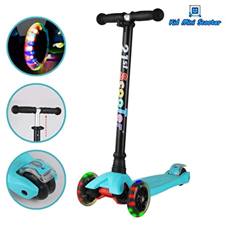 Mini Kids Scooter with 3 Smooth Flashing LED Light Up Wheels and Adjustable Height Lean To Steer Kick Scooter for Girls Boys Toddlers Children from 3 to 13 Year-Old, Max Weight 143 lbs
