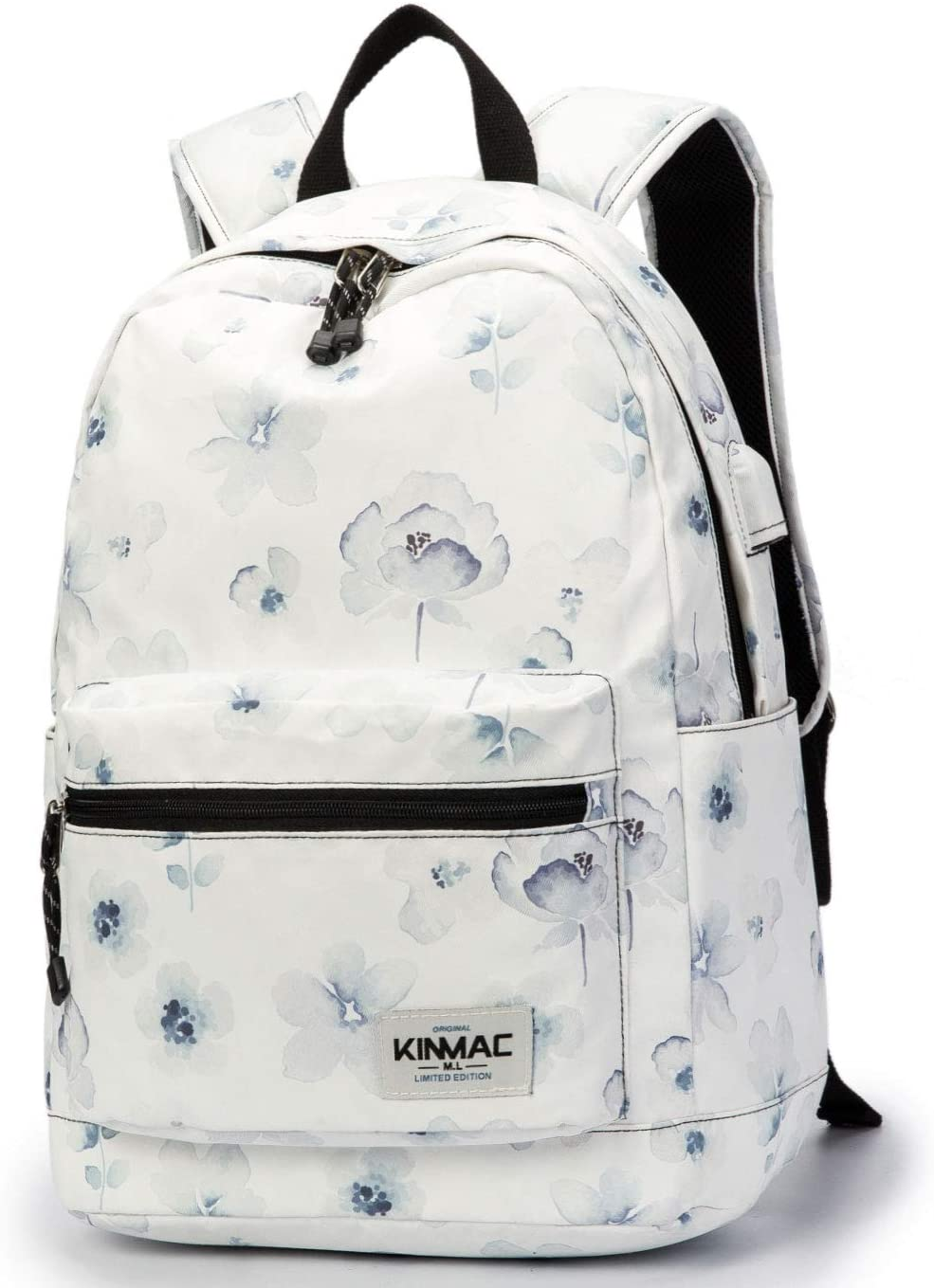 Kinmac Chinese Ink Flower Pattern 15 inch Waterproof Laptop Travel Outdoor Backpack with USB Charging Port for 13 inch 14 inch and 15.6 inch Laptop