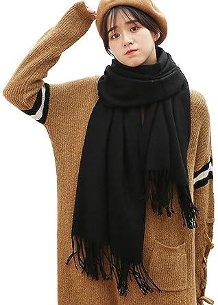 FEOYA - Echarpe Longue Femme Hiver Chaud Couleur Uni en Cachemire Foulard  Doux Grande Dimension 200 20e3b3a450e