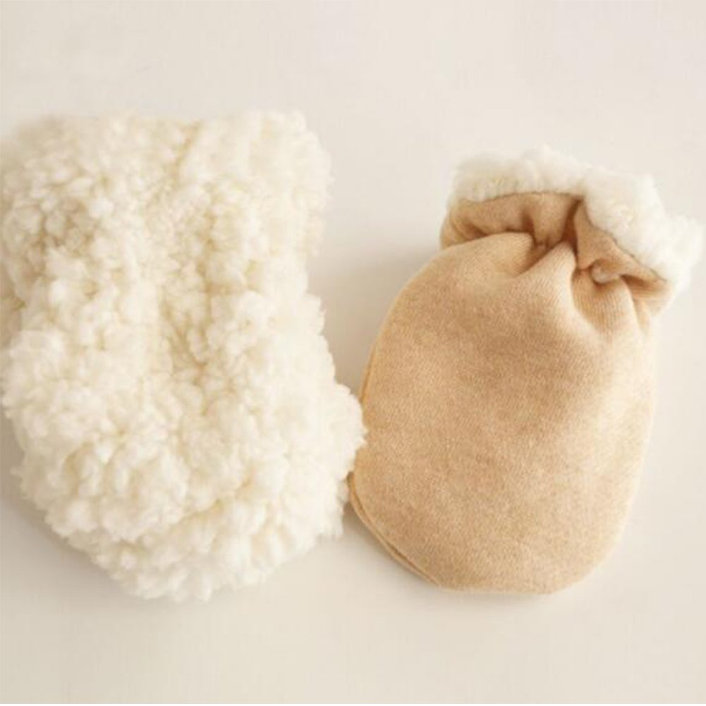 2pcs Baby Newborn Thicken Sherpa Lined Mittens Infant Boys Girls Winter Warm Gloves For 0-12 Months