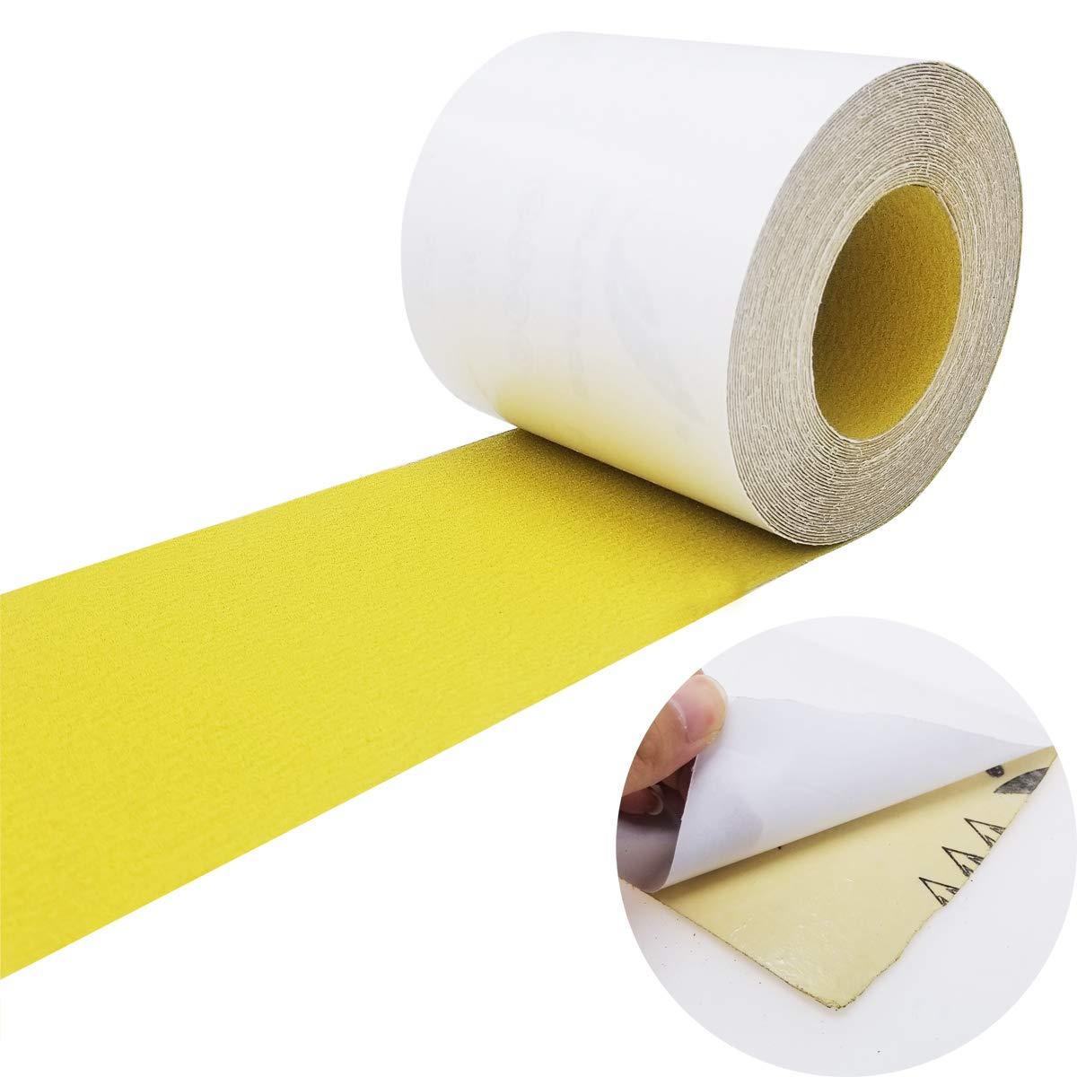 Sackorange PSA Self Adhesive Sticky Back 120-Grit Sandpaper Roll 4.5'' Inch x 10 Yards Aluminum Oxide Golden Yellow Longboard Sandpaper for Automotive and Woodworking(4.5inx10Y) by SACKORANGE