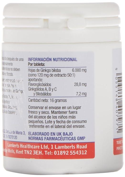 Lamberts Ginkgo Biloba 6000 mg - 30 Tabletas: Amazon.es: Salud y cuidado personal