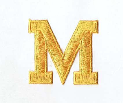 Amazon alphabet letter m color yellow 2 block style alphabet letter m color yellow 2quot block style iron on embroidered thecheapjerseys Gallery