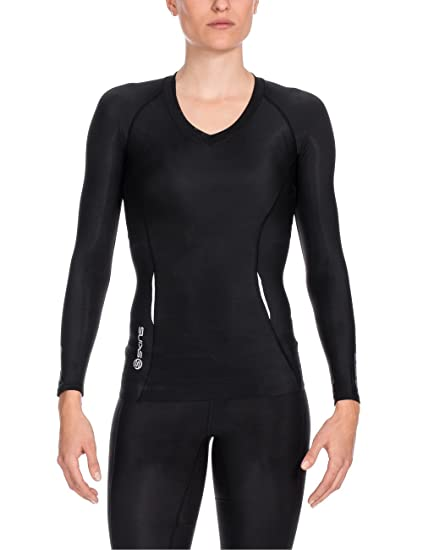 Skins A200 Women's Long Sleeve Compression Top, Extra Small, Black/Black
