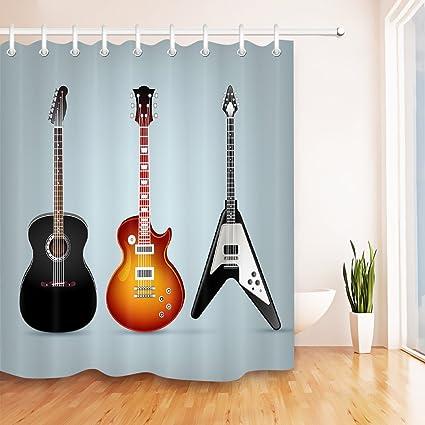 Guitarra acústica guitarra eléctrica bajo negro marrón cortina de baño para baño tela de poliéster 180
