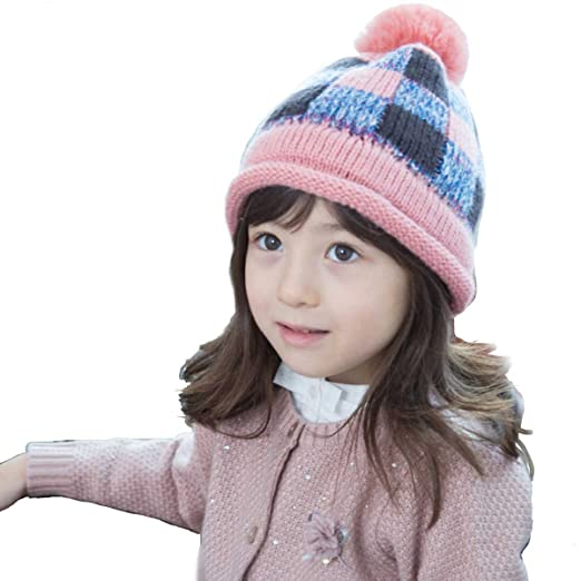 fa320e02459a7 Azarxis Kids Boys Girls Beanie Hat Winter Warm Windproof Pom Pom Hat  Knitted Cap ...