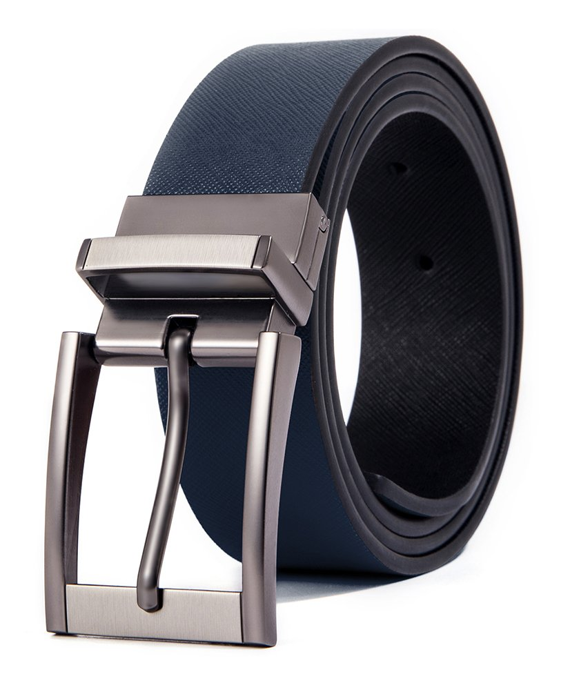 Cyparissus Genuine Leather Belt for Men with Single Prong Buckle (110CM(waist31''- 33'') Belt£¨33''-35'')), Navy)