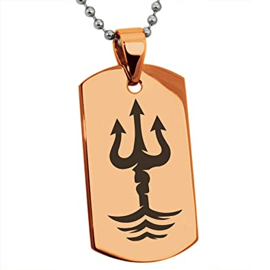 Rose Gold Stainless Steel Poseidon Greek God Of Sea Symbol Engraved