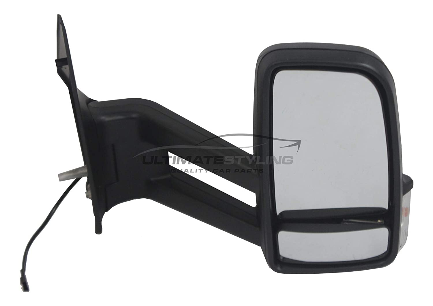 Ultimate Styling Replacement Manual None Power Folding Short Arm Wing Door Mirror With Non-Heated Glass With Black Mirror Cover Cap Side Of Product Drivers Side RH