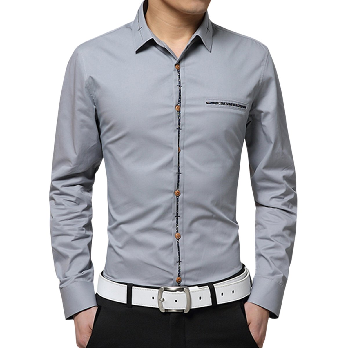 Pishon Mens Button Up Shirt Slim Fit Long Sleeve Business Contrast Dress Shirt