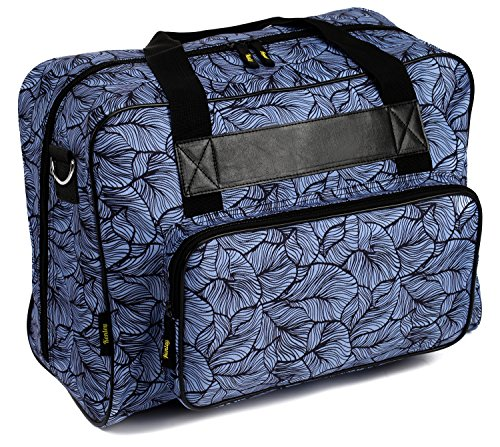 Kenley Sewing Machine Tote Bag - Padded Storage Cover Carrying Case with Pockets and Handles - Universal Fit 18x10x13 inches for Janome Brother Singer - Midnight Flowers (9100 Singer Sewing Machine compare prices)
