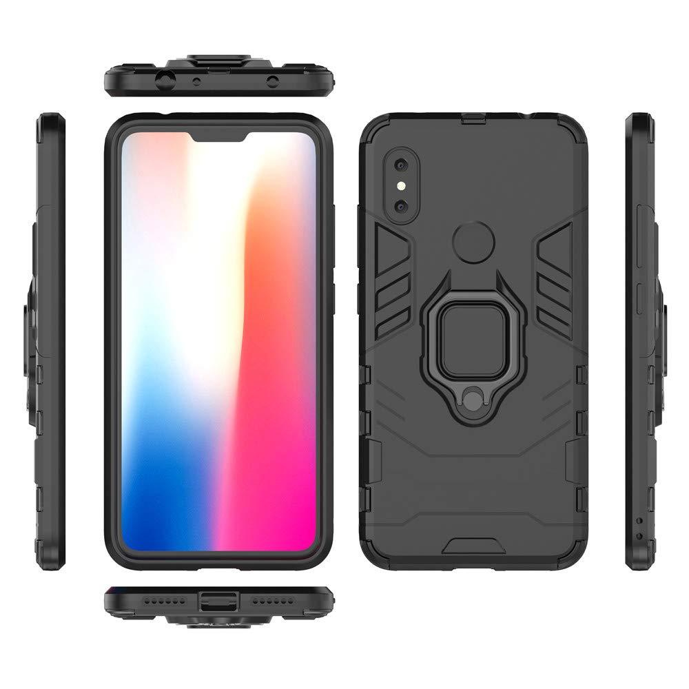 All Black Xiaomi Redmi Note 5 Pro Funda TPU Silicona con Soporte Magnetic Car Mount Case Cover para Xiaomi Redmi Note 5 CHcase 2in1 Armadura A Prueba de Choques Heavy Duty Escudo C/áscara Dura PC