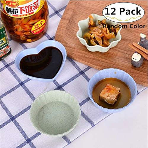 12 Pack Multipurpose Mini Seasoning Sauce Dishes, Magnolora Small Appetizer Plates Dipping dish Dinnerware Set - Saucer for Vinegar/Salad/Soy Sauce/Wasabi/Chili Oil (Heart, Round and Flower (Wheat Round Serving Plate)