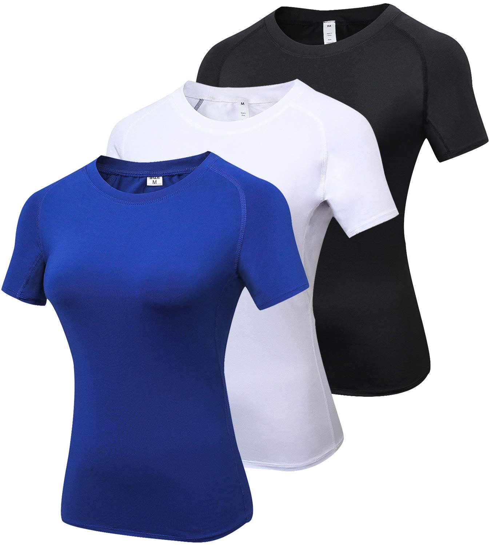フジオカシ laventoレディースCool Dry圧縮ベースレイヤークルーネック半袖Running Shirts w2501 B077YGG8GR Shirts 3 Pack-2013 Black B077YGG8GR/White Large/Blue Large Large|3 Pack-2013 Black/White/Blue, 大野町:ac0b9b28 --- ballyshannonshow.com