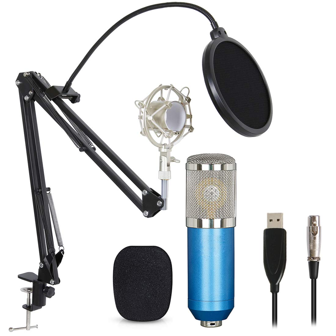 Professional USB Condenser Microphone Bundle,BM800 XLR 3 Pin Mic Kit With Adjustable Boom Scissor Arm Stand,Shock Mount,Pop Filter USB Audio Cable For Computer Youtube Singing Studio Recording & Bro