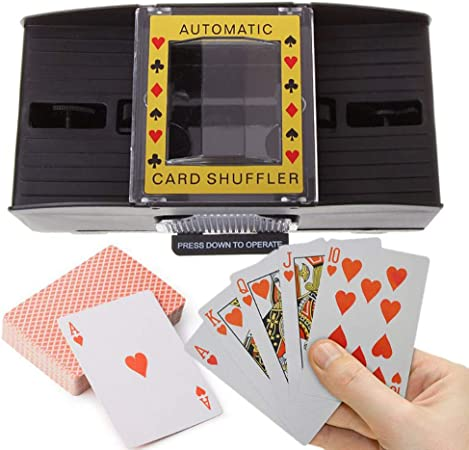 zhuangyulin6 Máquina barajadora, Juego de Mesa Póker Cartas de Juego Casino Deluxe Automático Tarjeta de 2 mazos Shuffler Poker Texas Holdem Black Jack Nuevo: Amazon.es: Hogar