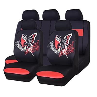 CAR PASS 11PCS Insparation Butterfly Universal Fit Car Seat Covers Set Package-Universal fit for Vehicles,Cars,suvs,vansAirbag Compatiable(Black with Red): Automotive
