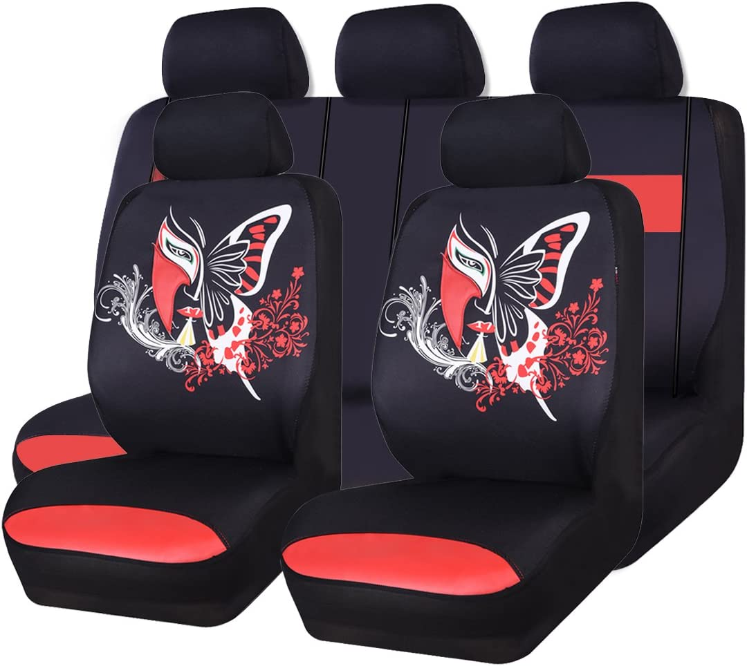 4pcs//9pcs Universal Car Seat Covers Butterfly Print Tire Pattern Embossing Breather Full Set Car Cushion Case Cover Front Car Seat Cover Accessories Seats Car-styling Interior Automobiles Blue S