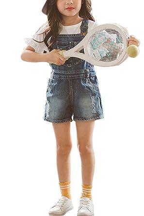 Amazon.com: aulase Denim overol de niña verano novio jeans ...