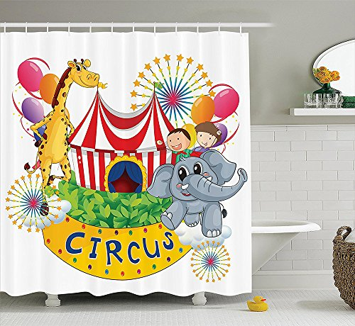 [Circus Decor Collection Circus Show with Kids and Animals Smiling Magician Children Happiness Design Print Polyester Fabric Bathroom Shower Curtain Gray Yellow] (Dark Magician Costumes Pattern)