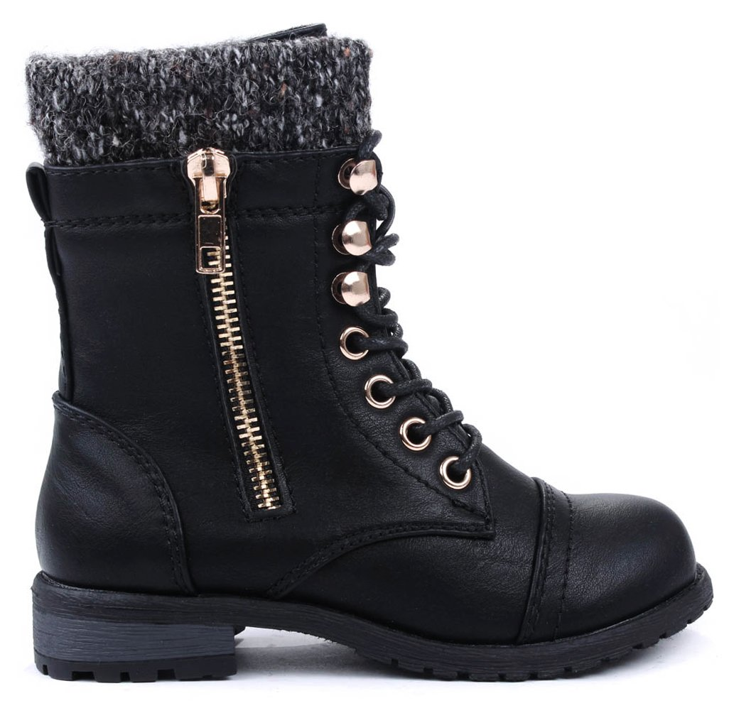 Jjf Shoes Mango-31 Kids Round Toe Military Lace Up Knit Ankle Cuff Low Heel C.. 8