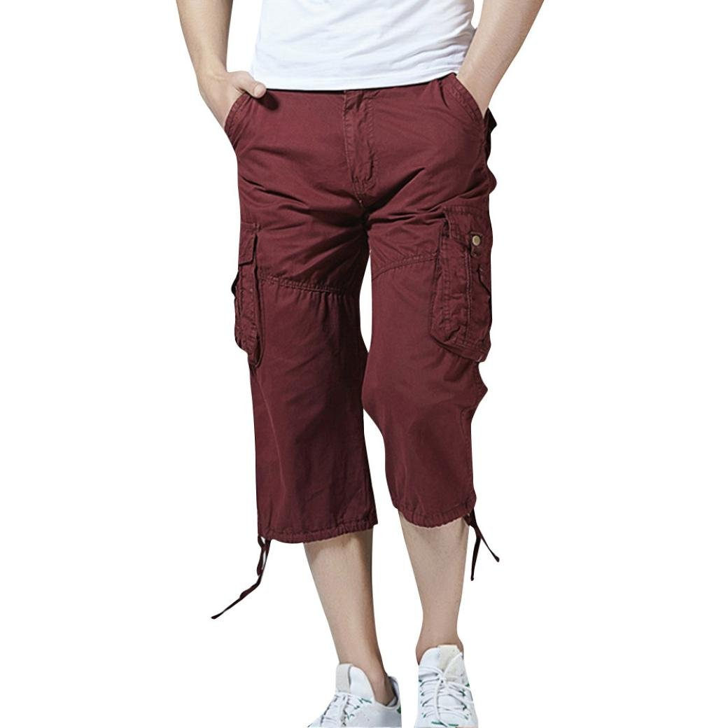 Allywit Men Shorts,Mens Cargo Shorts Casual Solid Outdoors Mid Waist Pocket Beach Work Shorts Pant Trouser