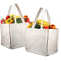 Canvas Grocery Shopping Bags with Bottle Sleeves, Micarsky 100% Organic Cotton Cloth Reusable and Washable & Eco…