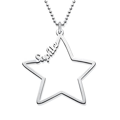 8a89b1d9356d9 Amazon.com: Amandasessom Personalized Star Name Necklace Custom Name ...