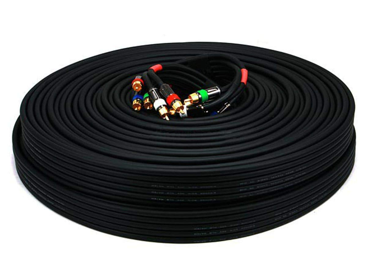 Monoprice 100ft 18AWG CL2 Premium 5-RCA Component Video/Audio Coaxial Cable (RG-6/U) - Black by Monoprice (Image #1)