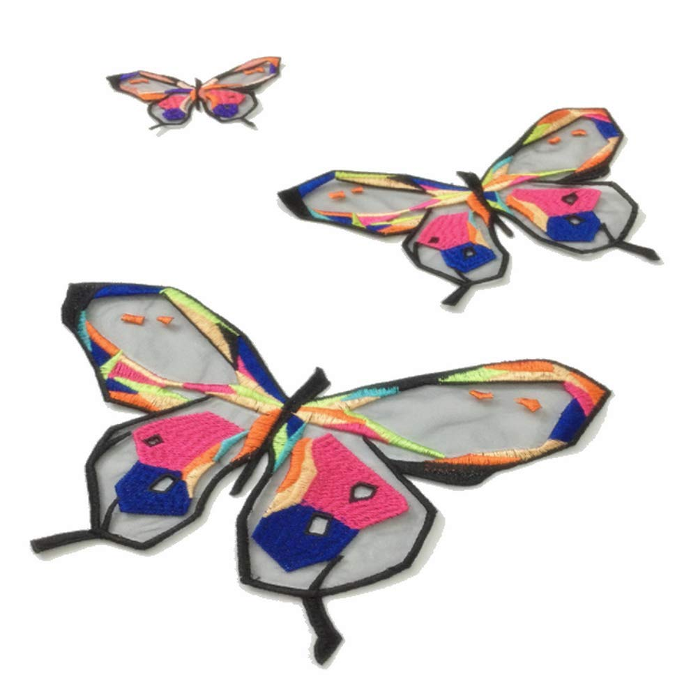 4 Pcs Butterfly Patches Embroidery Sew On Patch Badge Clothing Applique DIY Ornaments Lovely Decorative Black