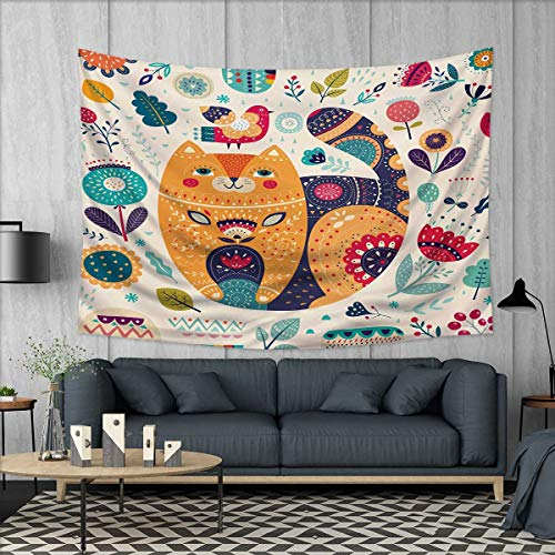 Paisley Brown Needlepoint (Anhuthree Paisley Wall Tapestry Little Smiling Chubby Cheek Cat Animal with Various Oriental Leaf Flower Artwork Home Decorations for Living Room Bedroom 80
