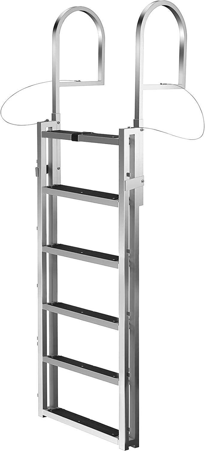 Swimming Pool Boat Ladder 330lbs Weight Capacity Dock Lift Ladder for Dock Pontoon Fixed Dock Ladder w//Handrails and Matte Finish 21inch Step VEVOR Aluminum Dock Ladder 6-Step