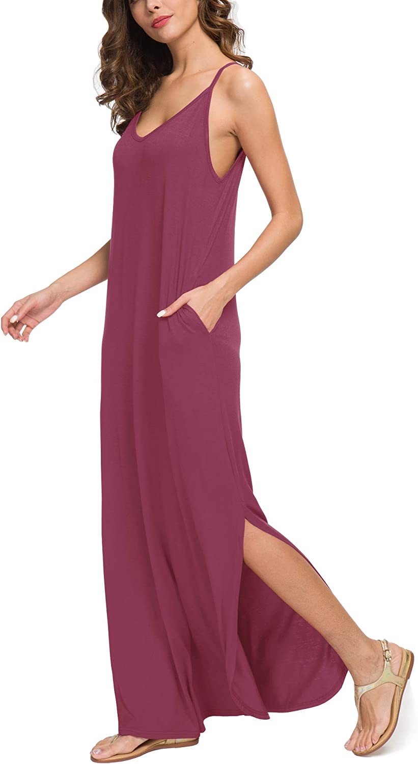 GRECERELLE Womens Summer Casual Loose Dress Beach Cover Up Long Cami Maxi Dresses with Pocket