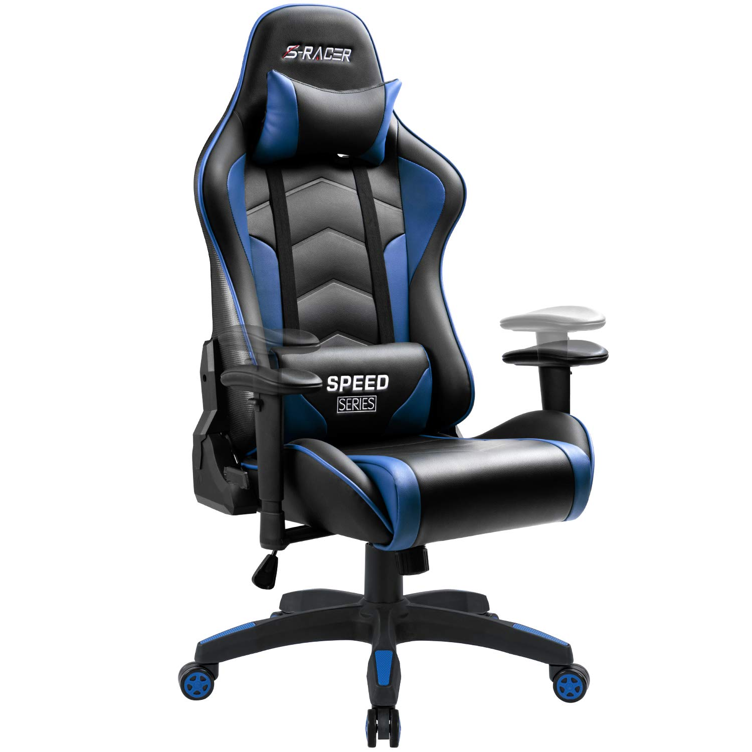 Homall Gaming Chair High Back Computer Chair Racing Style Office Chair Embossing Design Pu Leather Bucket Seat Desk Chair with Adjustable Armrest Ergonomic Headrest and lumbar Support (Blue) by Homall