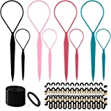 Topsy Hair Tail Tools Set,TsMADDTs Hair Braiding Tool Set 8 pcs Topsy Tail Tools 8 pcs French Centipede Braiders for French Twist Plait Ponytail 10 pcs Black Hair Ties Bulk