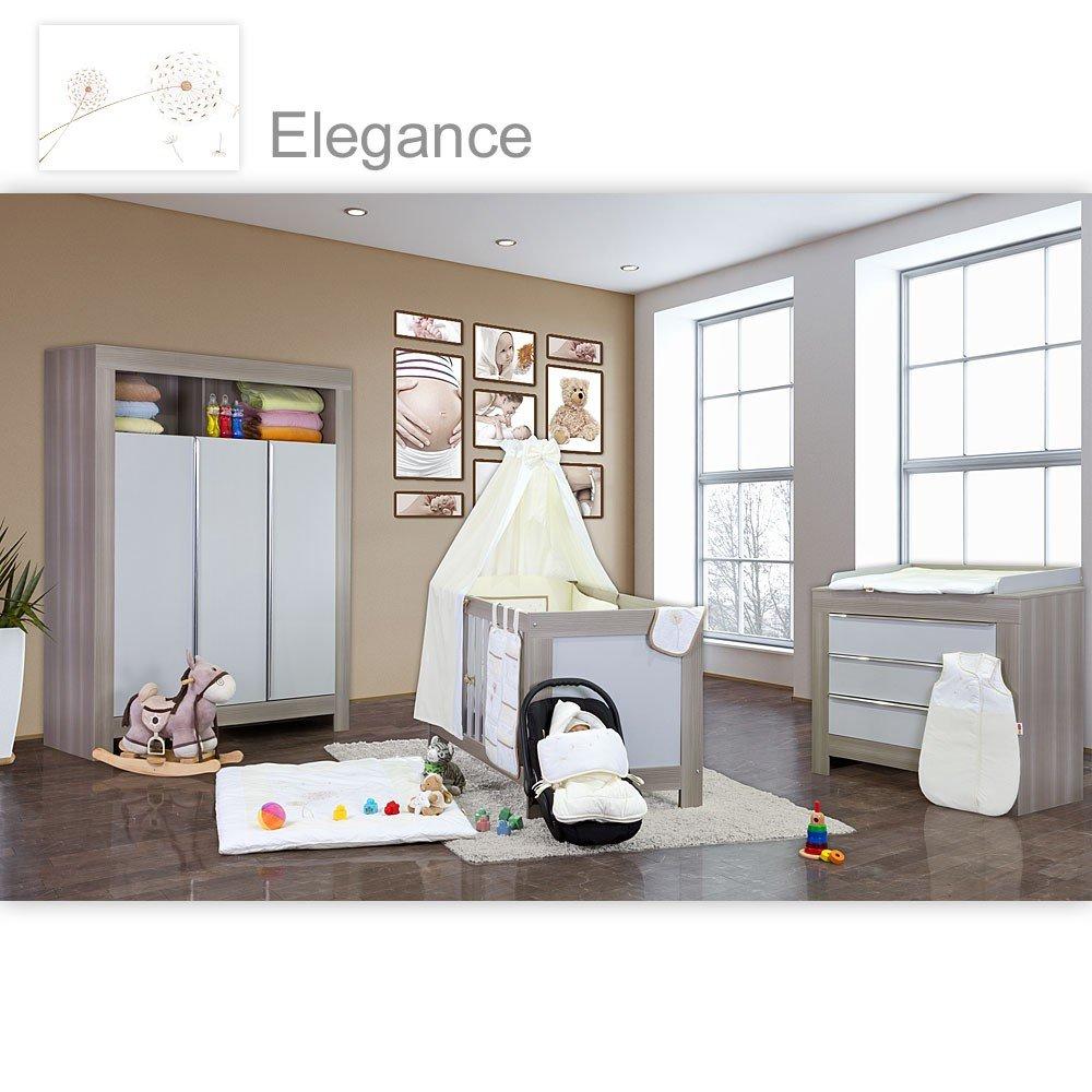 Babyzimmer weiß beige  Babyzimmer Felix in akaziengrau 21 tlg. mit 3 türigem Kl. + ...