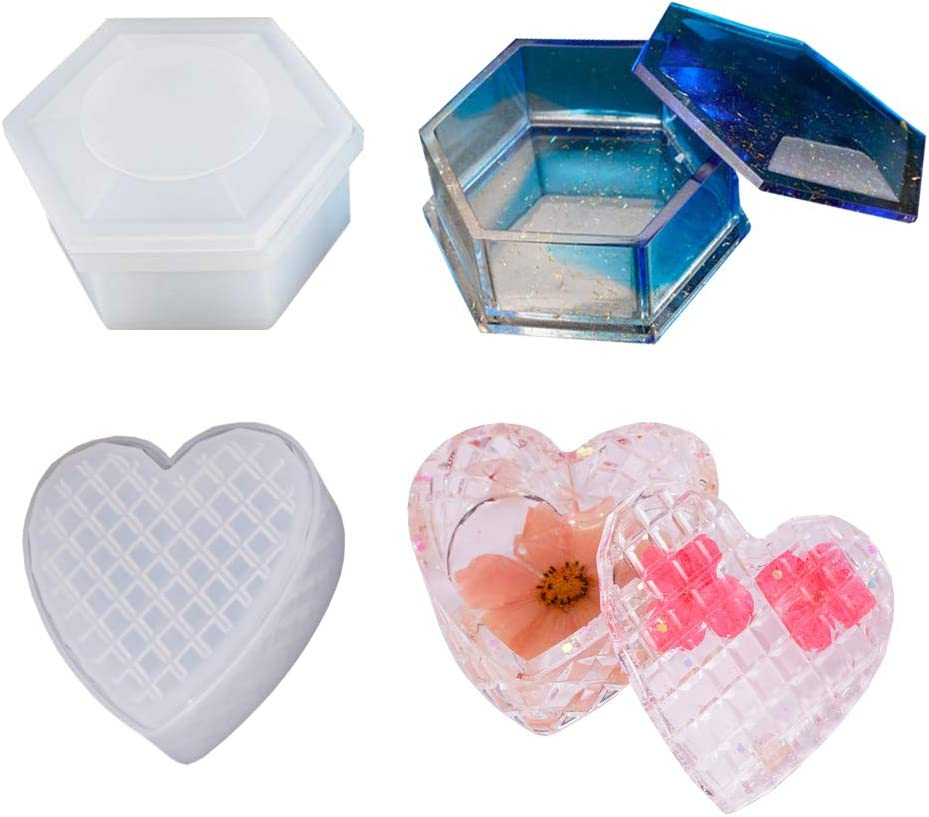 URATOT 5 Pack Box Resin Molds Silicone Resin Molds Jewelry Box Molds Heart Hexagon Square Round and Flower Boxes Casting Resin Mold for Resin Crafts DIY