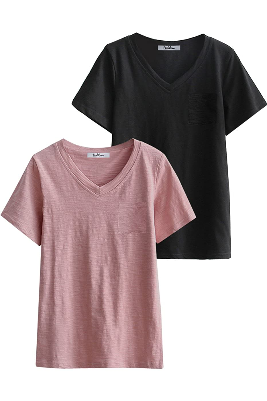a81b7b71 DESIGN DETAILS: Short sleeves with V neck line make your look classic.  Relaxed pocket tee with a cute, ...