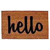 Home & More 100341729NBS Hello Doormat, 17'' x 29'', Natural, Black