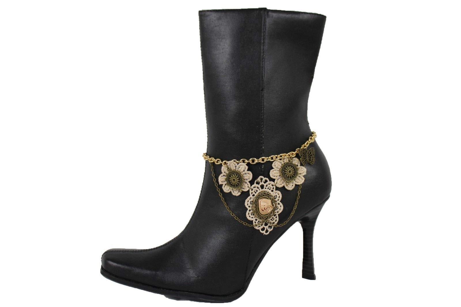 Women Gold Metal Chain Boot Bracelt Shoe Flower Butterfly Charm Beige Lace Retro