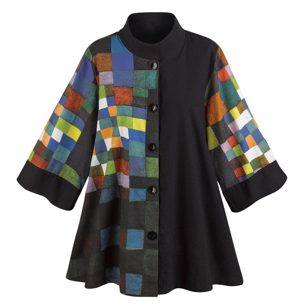 CATALOG CLASSICS Women's Paul Klee Button Down Swing Jacket - XXL
