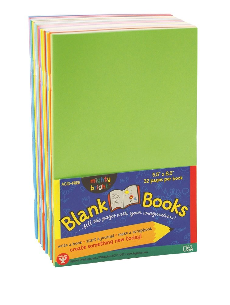 Hygloss Colorful Blank Books for Journaling, Sketching, Writing & More - for Arts & Crafts, 5.5 x 8.5 Inches-20 Pack, 10 Assorted Bright, Fun