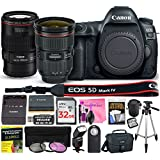 Canon EOS 5D Mark IV 30.4 MP DSLR Camera (Wi-Fi) PROFESSIONAL PHOTOGRAPHER Multi-Lens Kit with EF 24-70mm f/2.8L II USM Lens, EF 100mm f/2.8L Macro IS USM Lens & Premium Camera Works Accessory Bundle
