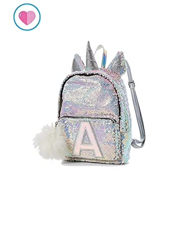 Justice Flip Sequin Mini Small Backpack Bleach White Unicorn Initial letter H