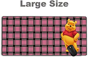 Stitched Edge Large Gaming Mouse Pad Winnie The Pooh Stripe Pink Basket Weave,No-sliped Mat Game Mousepad for Desktop Computer Keyboard and Laptop(27.5 inch x 12 inch)