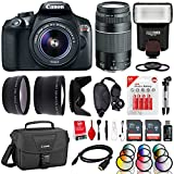 Canon EOS Rebel T6 18MP DSLR Camera w/ 18-55mm + 75-300mm + Flash + 12 Filters + 64GB + Cleaning Kit + Case + Monopod