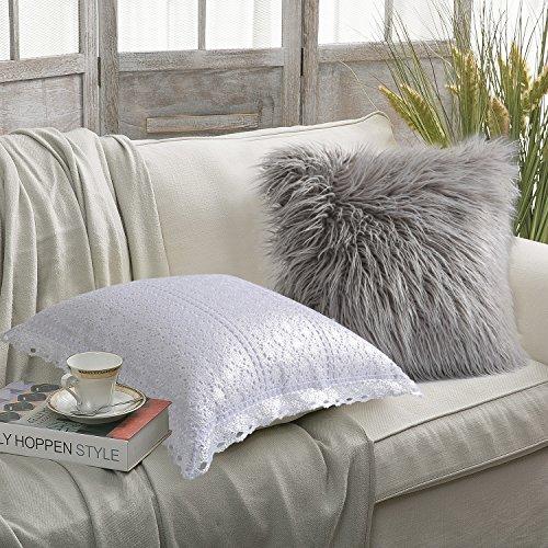 Fur Silver (PHANTOSCOPE New Luxury Series Set of 2 Silver Crochet Grey Merino Style Fur Throw Pillow Case Cushion Cover 18