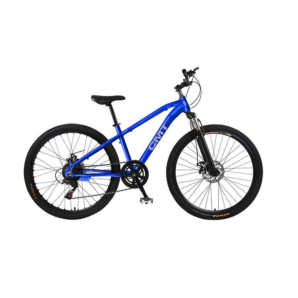 azul 26 Pulgadas Unisexo Bicicleta de montaña de suspensión 21 Velocidad Freno de Disco Doble Estudiante Niño Ciudad del Viajero Cabellera Dura Bicicleta,blanco